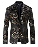 Herren Blazer Gold Printed Casual Blazer Jacke DE 48 (Asian 3XL)