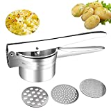 buluship Kartoffelpresse Potato Ricer Stainless Steel with Large Capacity 420ml Made of 304 Stainless Steel Rust-Proof, for Mashed Potatoes, Fruit Juices, Vegetable Puree Zitronenpresse