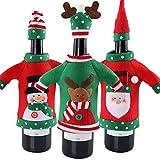 Aparty4u 3pcs Ugly maglione di Natale con bottiglia di vino, bottiglia di vino a mano maglione sacchetti per decorazioni natalizie Ugly Sweater party decorazioni di Natale vacanza regali