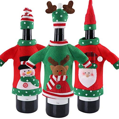 Aparty4u 3 Stück Ugly Pullover Weihnachten Wein Flasche, Handgefertigt Pullover Wein Flasche Staubbeutel für Weihnachtsdekorationen Ugly Pullover Party Dekorationen Urlaub Geschenke (Hässlich Weihnachten Pullover Dekorationen)