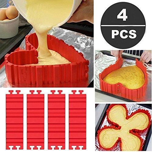Bake Snake, Kuchenformen, Tortenring Verstellbar, Silikon Form, Backform, Fondant Zubehör, Cake Mould, DIY eine Vielzahl von Formen, Set 4 Stück