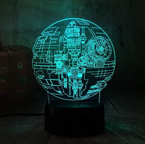 Lampe Led Nachtlicht Nachtlicht New Star Wars Todesstern 3D Led Nachtlicht 7 Farbe Schlaf Tisch Lamm Luminaria Dekoration Urlaub Kinder Geschenke Spielzeug ()