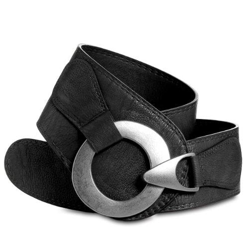 CASPAR GU243 Cinturón Ancho para Mujer con Hebilla Grande Metalizado