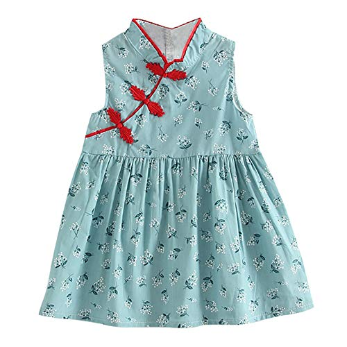 ls Kids Dresses for 1-6 Years,Girls Cute Flower Print Dress Chinese Style Vintage Cheongsam Dresses Qipao Baby Clothes ()