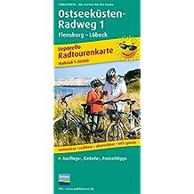 Ostseeküsten-Radweg 1, Flensburg-Lübeck: Leporello Radroutenkarte mit Ausflugszielen, Einkehr- & Freizeittipps, wetterfest, reissfest, abwischbar, ... 1:50000 (Leporello Radtourenkarte / LEP-RK)