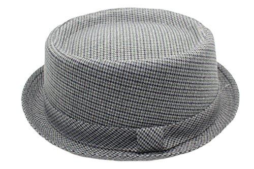 Adult Unisex Porkpie Classic Tweed Pork Pie Trilby Hat With Marching Band by VIZ-UK WEAR (57cm, LIGHT GREY)