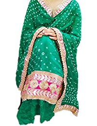 NS Creation Women's Art Silk Bandhini Gota Patti Daaman Border Suit With Same Work Border In Crep Bottom (SN-687...