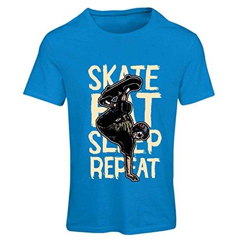Frauen T-Shirt Eat-Sleep-Skate-Repeat Fro Skateboard Liebhaber, Skateboarder Geschenke, Skateboarden Kleidung (Small Blau Mehrfarben) -