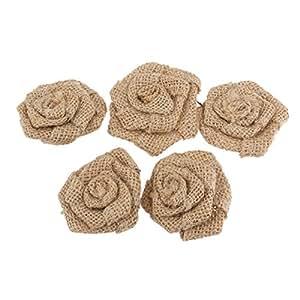 PIXNOR Fiori della rosa della tela di iuta della tela da imballaggio 5 Pack per decorazione di natale nozze (marrone)