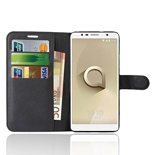 Anzhao Alcatel 3C Hülle PU Ledertasche Brieftasche Schutzhülle für Alcatel 3C Hülle (Schwarz)
