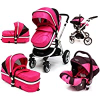 i-Safe System - Raspberry (Pink) Trio Travel System Pram & Luxury Stroller 3 in 1 Complete With Car Seat