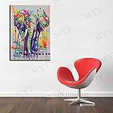LIEFENGDA Ölgemälde Auf Leinwand Gemalt Von,Gemalte Kreative Linie Kunst des Elefanten,100% Handgemalte Moderne Wandkunstwohnzimmer Kein Rahmenbildausgangsdekorationanstrich,40X60Cm