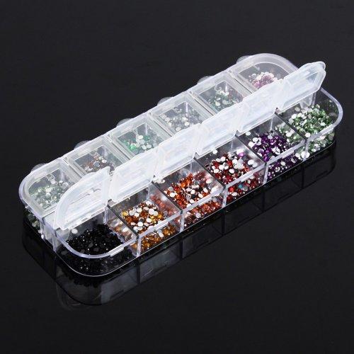 YESURPRISE 12 Colours 3000Pcs Round Glitters Uv Gel Nail Art Tips Diy Decorations Case