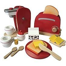 Frühstückset Kinder Kaffemaschine Toaster Spielset Aus Holz Mit Viel Zubehör  Für Das Erste Frühstück Passend Zu