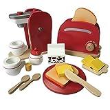 Frühstücksset Kinder Kaffemaschine Toaster Spielset aus Holz mit viel Zubehör für das erste Frühstück passend zu allen Kinderspielküchen Kinderküchen Spielzeug (Kaffemaschine & Toaster Set)