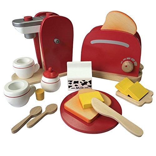 Frühstücksset Kinder Kaffemaschine Toaster Spielset aus Holz mit viel Zubehör für das erste...