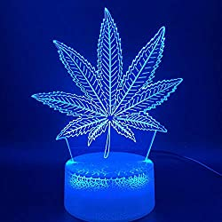 ZYBZYB 3D Nachtlicht Illusion Lampe Led Botanik Cannabis Marihuana Office Bar Room Dekoratives USB- oder batteriebetriebenes