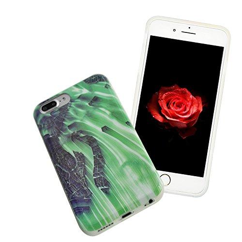 Sunroyal Coque iPhone 8 Plus Coque Housse Case Bumper Étui Coque de Protection en TPU Silicone Ultra Slim Mince Léger Antichoc Housse Case Coque Dessin Marbre Souple Motif Marbre Grain Soft Case Arriè Motif 16