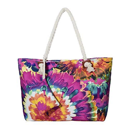 Große Strandtasche wasserabweisend mit Reißverschluss Vintage Blumen-Motiv Aquarell