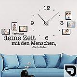 DESIGNSCAPE® Wandtattoo Uhr Verbringe deine Zeit mit den Menschen, die du liebst, Wanduhr mit Fotorahmen, Bilderrahmen 117 x 57 cm (B x H) schwarz inkl. Uhrwerk schwarz, Umlauf 44cm DW813078-M-F4-BK