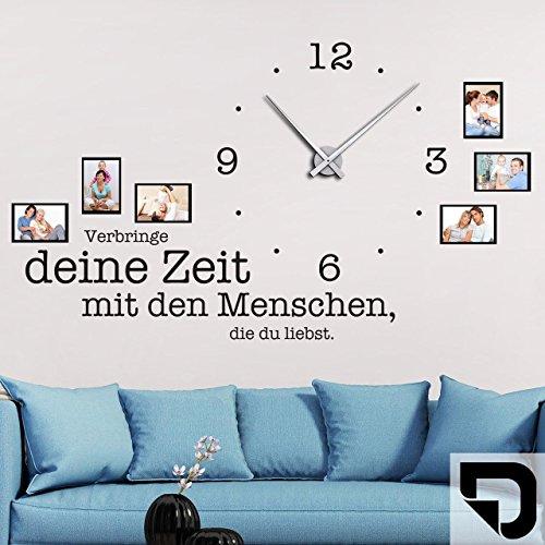 DESIGNSCAPE® Wandtattoo Uhr Verbringe deine Zeit mit den Menschen, die du liebst, Wanduhr mit Fotorahmen, Bilderrahmen 117 x 57 cm (B x H) schwarz inkl. Uhrwerk silber, Umlauf 44cm DW813078-M-F4-SI
