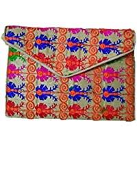 Embroidery Clutch With Cotton Thread Design Multi Coloured
