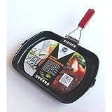 Happy Friends - Asadora Grill Profesional con Mango Plegable - Acero al Carbono con Doble Revestimiento Antiadherente - Inducción - 34*24 cm