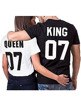 Partnerlook camiseta de los pares Conjunto Rey Reina para parejas como regalos