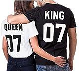 Partner Look Pärchen T-Shirt Set King Queen für Pärchen als Geschenk in versch. Farben S-4XL, Größe:Damen Gr. M + Herren Gr. M