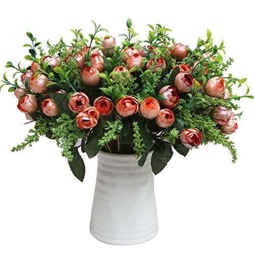 Kicode Rose Blume Simulation Rose Tee Knospe Perle Künstliche Fake Floral Für Home Hotel Büro Hochzeitsfest Garten Handwerk Kunst Dekor Ast 12