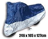 Outdoor Abdeckplane XL (246 x 105 x 127cm) blau/silber für Roller / Motorrad