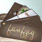 Originelle Einladungen zum 50 Geburtstag, Goldener Tag 50 200 Karten, Kartenfächer 210x80 inkl. weiße Umschläge, Braun