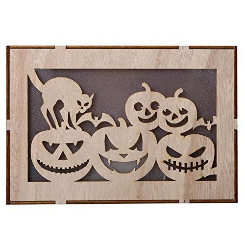 NKVG Dekoration Halloween Halloween Holz rechteckige Computer Laser hohle schwarze Katze Kürbis Menschen LED leuchtet dreidimensionale hängende Ornamente