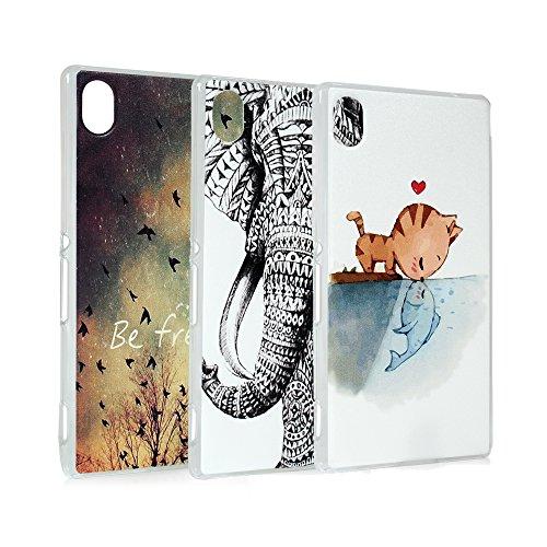 Lanveni 3x Gemalt PC Transparent Hülle für Sony Xperia M4 Aqua Smartphone Schutzhülle Etui Telefon-Kasten Case Shell Abdeckung Backcover Handyhülle(Asuka + Katze Kuss Fisch + Elefant Tribal Muster)