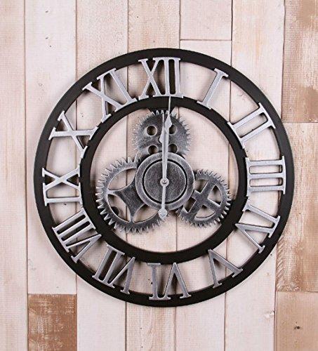 ZHENAI Grande horloge murale Équipement industriel de vent Ensemble de table suspendue Café Famille Salon Salle à manger personnalisée Cadeau de vacances ( Couleur : B-50cm )