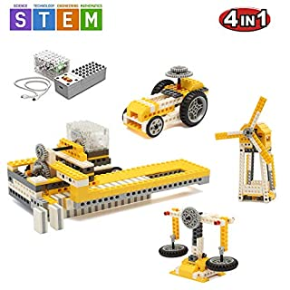 SEIGNEER 4 IN 1 Power Machinery Dominoes Machine Building Set Education Toy 286 Pieces With Storage Box