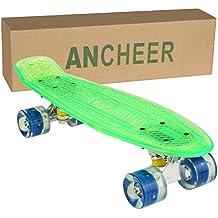 Ancheer Mini-Cruiser-Skateboard 55cm Skateboard mit oder ohne LED Deck