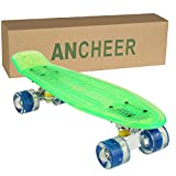 Ancheer Mini-Cruiser-Skateboard 55cm Skateboard mit oder ohne LED Deck,alle mit LED Leuchtrollen,mit USB Kabel aufzuladen,Farbe:Deck in Grün mit LED / Rollen in Blau mit LED
