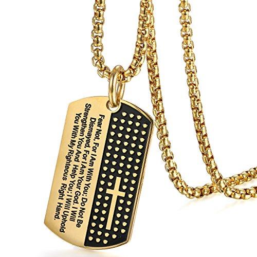 Flongo Herren Kette Anhänger, Edelstahl Halskette Kette Gold Schwarz Englisch Bibel Kreuz Kruzifix Dog Tag Rosenkranz Kette Männer Schmuck Herren Accessoires