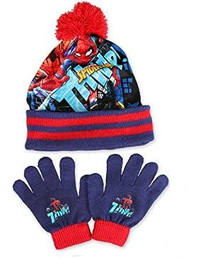 SPIDER-MAN, MARVEL - Set de bufanda, gorro y guantes - para niño RED & NAVY