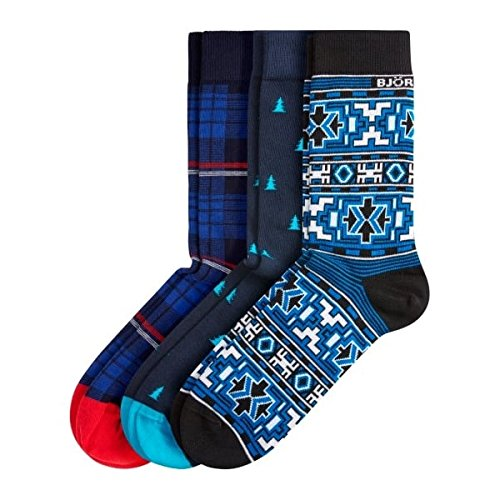chaussettes-coffret-bjorn-borg-pack-de-3-motifs-hommes-bleu-unique-taille