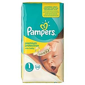Pampers - Pannolini per neonati, Taglia 1 (2-5 kg), Set da 3 confezioni (135 pannolini)