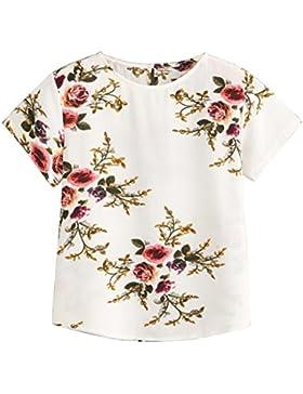 QinMM Camisa Floral de Mujer, Blusa de Playa de Verano de Manga Corta Camiseta