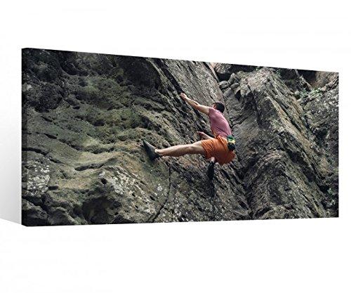Leinwandbild 1 Tlg Freeclimbing Felsen Klettern Extrem Leinwand Bild Bilder Holz gerahmt 9U1547, 1 Tlg BxH:80x40cm
