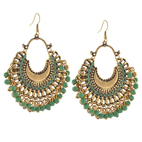 Zephyrr German Silver Beaded Green Chandbali Hook Dangle & Drop Earrings For Women