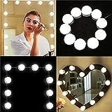 Luces de Espejo de Tocador, Estilo Hollywood 10 Bombillas LED USB Regulables Espejo de Maquillaje Cosmético, Lámpara de Baño Tocador, Espejo, Armario