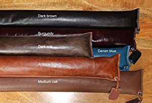Leather draught excluder in top quality, full grain leather made and designed in our workshop in Scotland. 90cms long x 10 cms wide. Send us a message with your colour choice. Available only for UK sales.