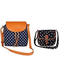 Hanso Bags Girls Pack Of 2 Canvas Printed Blue-Tan Sling & Black Sling Bag (CMB2_LBHBCP14BH_LBHBCP19PO)