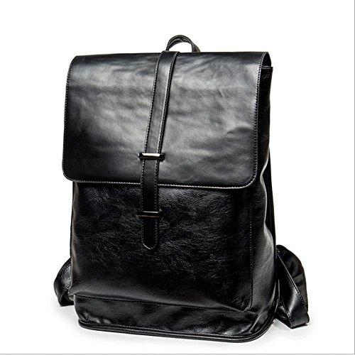 Men's Black Casual Retro PU Leder Doppel Tasche PC Tasche Studenten Schultasche