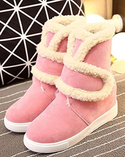Minetom Donna Inverno Velcro Pelliccia Neve Stivali Snow Boots Stivali Cavaliere Antiscivolo Scarpe Basse Cuneo Nascosto Pink